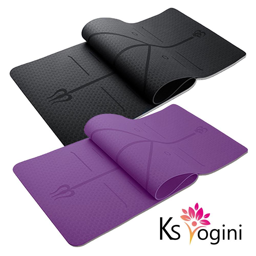 KS yogini 雙面防滑款 TPE正位線瑜珈墊6mm 贈收納繩