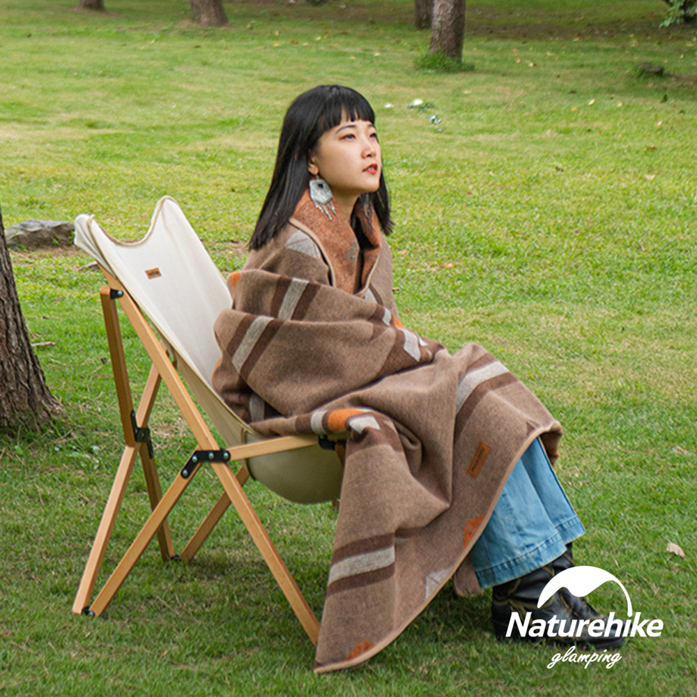 Naturehike 印地安風雙面幾何羊毛毯 附皮革收納帶