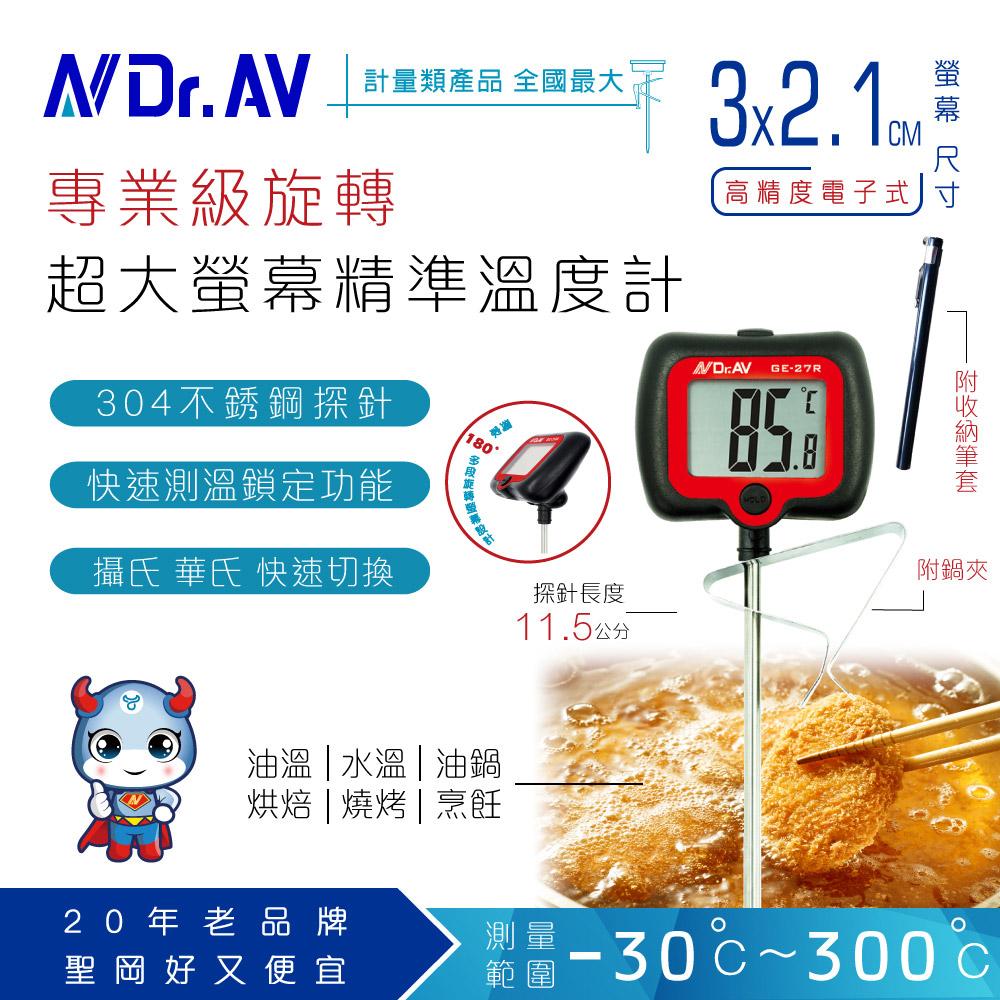 【N Dr.AV聖岡科技】GE-27R 旋轉大螢幕精準溫度計