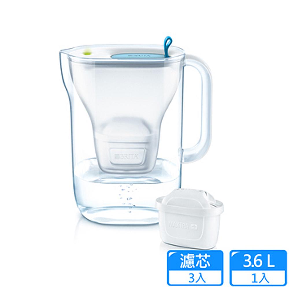 福利網獨享【德國BRITA】Style 3.6L純淨濾水壺+ 2入MAXTRA Plus濾芯_藍色(共3芯)