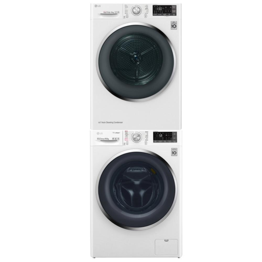 LG樂金 10.5公斤蒸氣洗脫烘滾筒WD-S105VDW+9公斤乾衣機 WR-90TW
