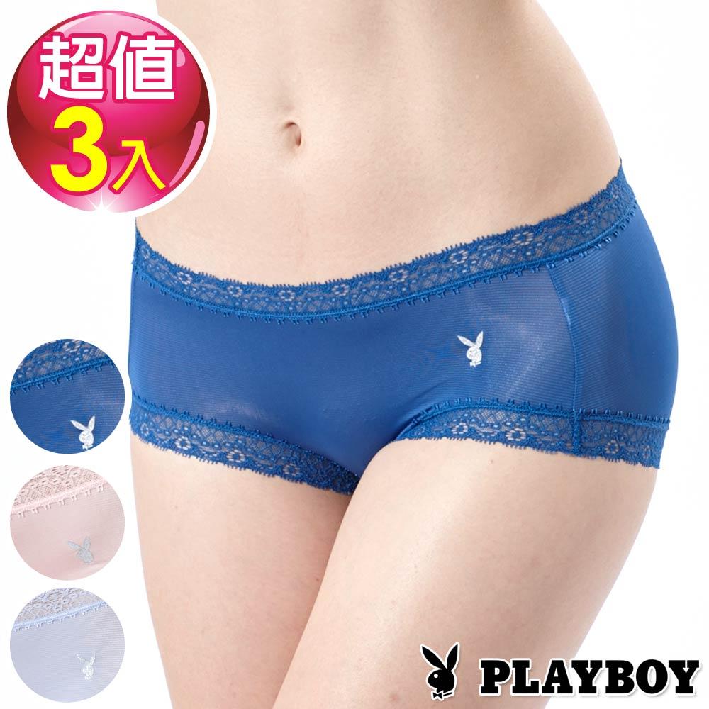 PLAYBOY內褲-蕾絲透氣涼感平口褲-混色三入組(PL220317)
