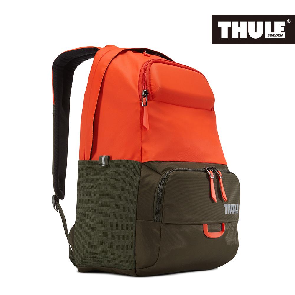 THULE-Departer Daypack多功能15吋電腦雙肩後背包TDMB-115橙橘/褐綠