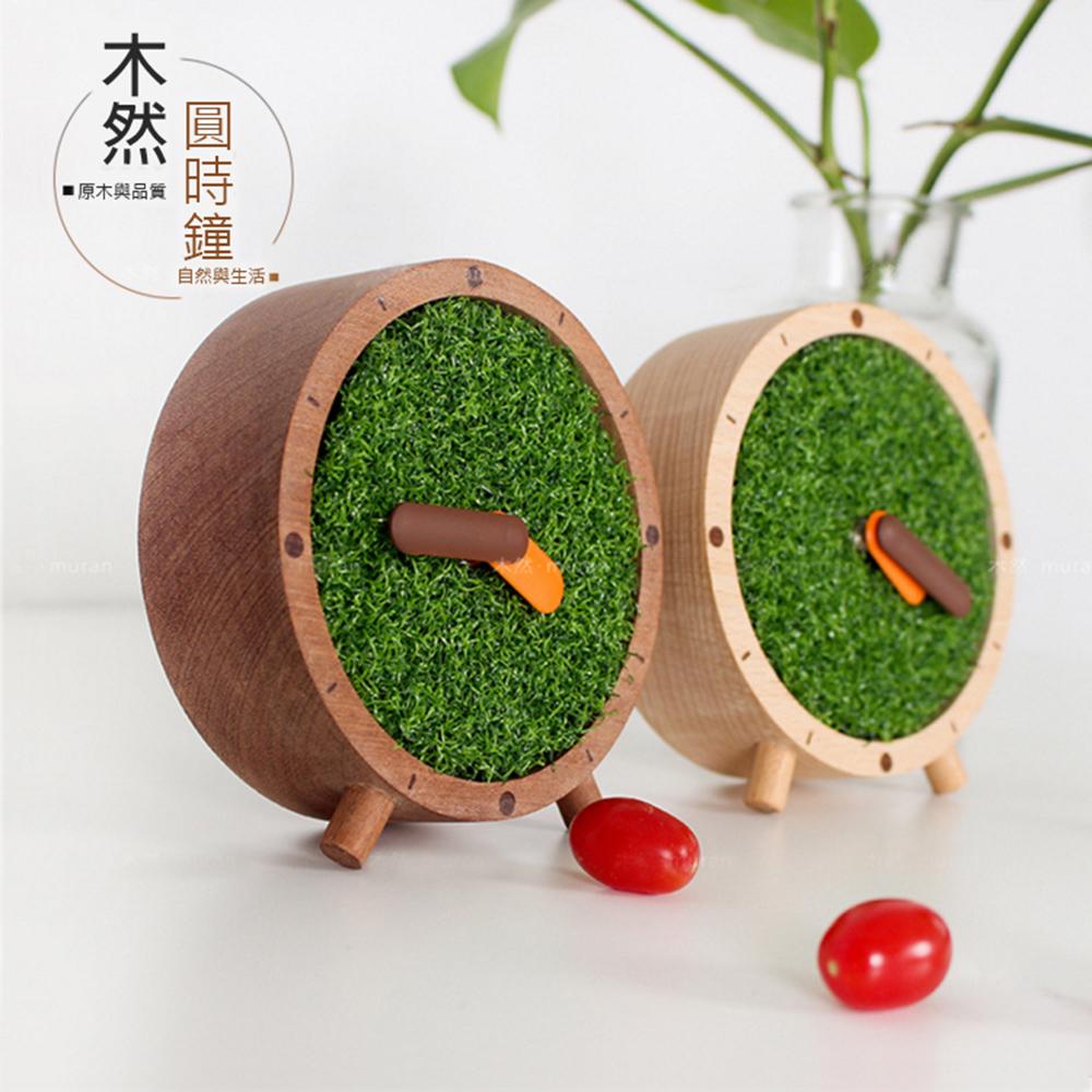 木然 muran 原木圓時鐘 靜音桌面時鐘 靜音 座鐘 實木時鐘 個性時鐘 擺設 禮物 (12cm)