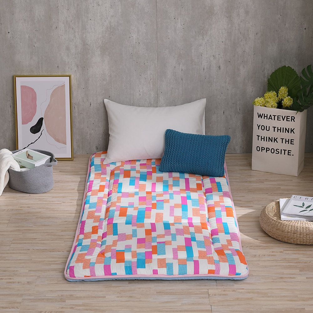 LAMINA 馬賽克彩格100%純棉日式床墊5cm(單人)