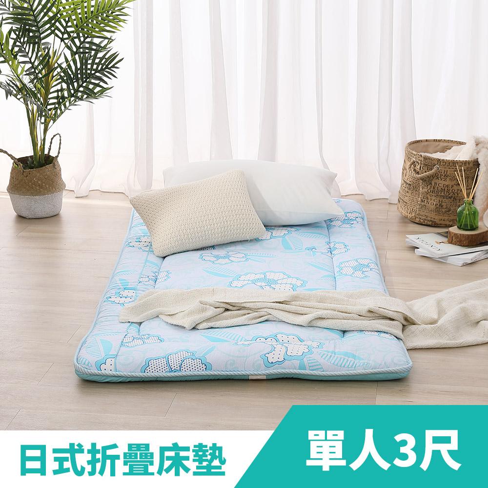 LAMINA 蝶花飛舞100%精梳棉日式床墊5cm-藍(單人)