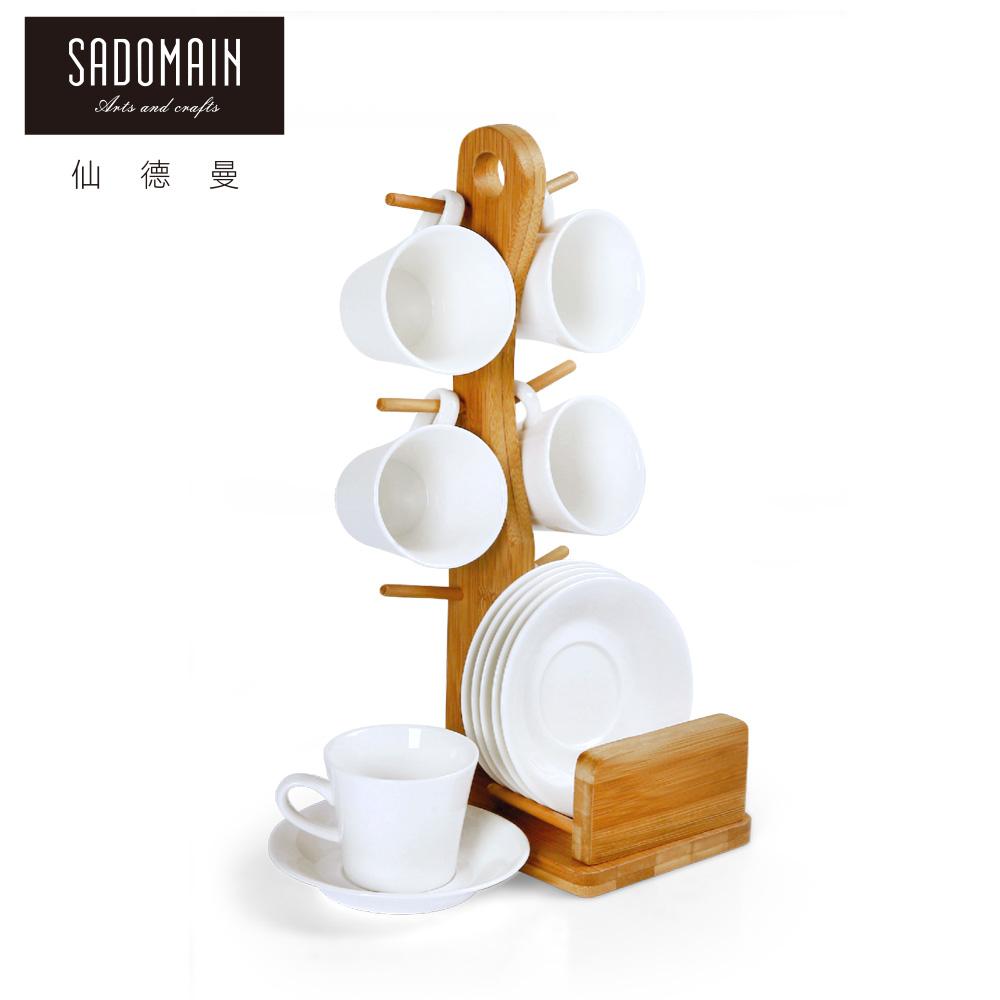 【仙德曼 SADOMAIN】迷你白瓷反口咖啡杯架組(60ml∕杯)