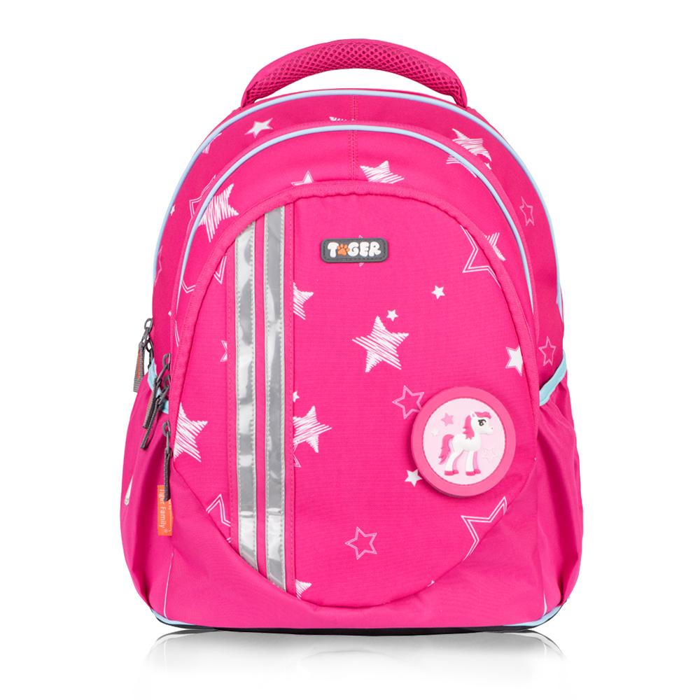 TigerFamily小精靈超輕量護脊書包+文具袋+雨衣-粉紅星星 (3~6年級)