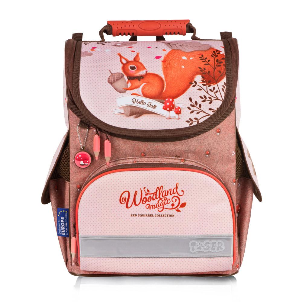 Tiger Family歐洲插畫家款小貴族超輕量護脊書包+文具袋+鉛筆盒-淘氣松鼠 (1~2年級)