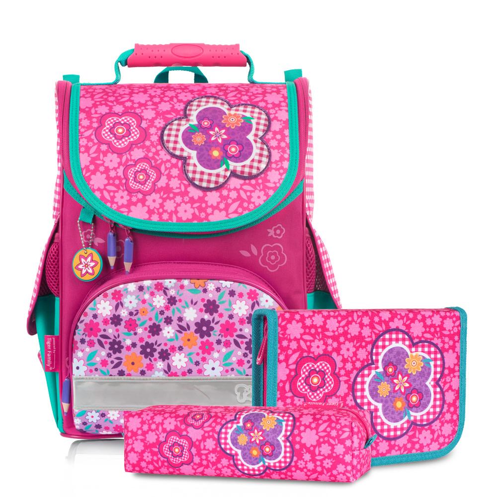 ▶2018新款▶Tiger Family小貴族超輕量護脊書包+文具袋+鉛筆盒-粉格碎花 (1~2年級)