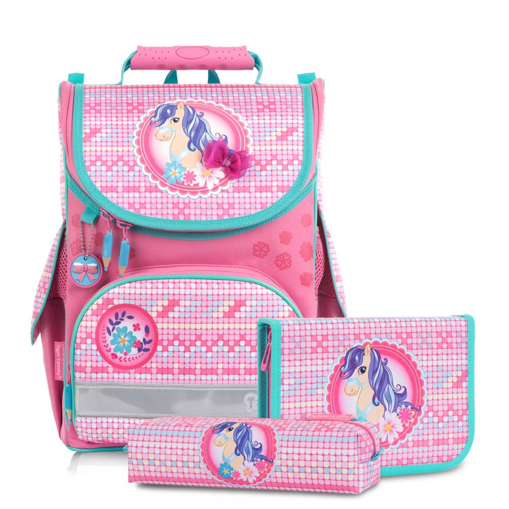 ▶2018新款▶Tiger Family小貴族超輕量護脊書包+文具袋+鉛筆盒-萌萌小馬   (1~2年級)