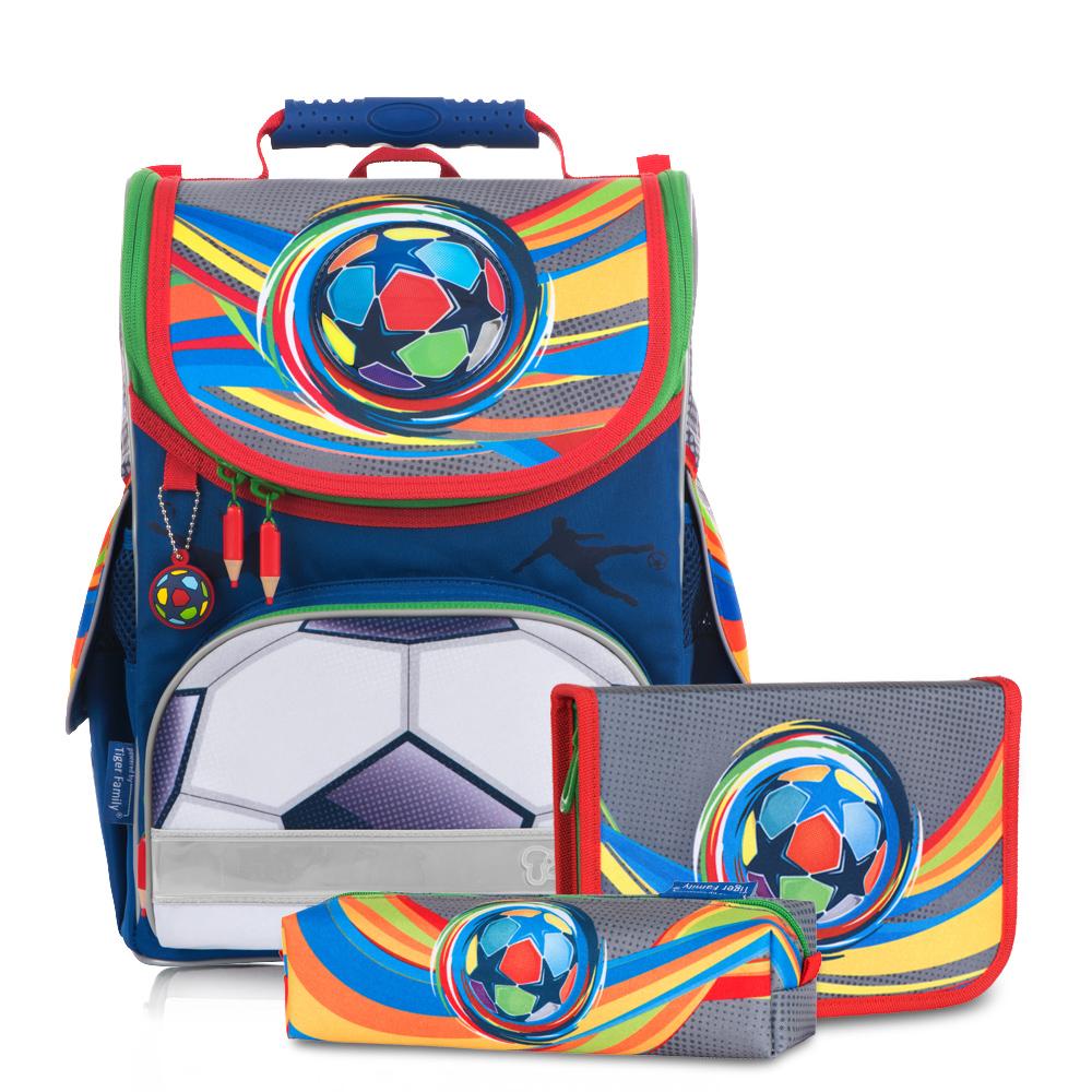 ▶2018新款▶Tiger Family小貴族超輕量護脊書包+文具袋+鉛筆盒-炫彩足球   (1~2年級)