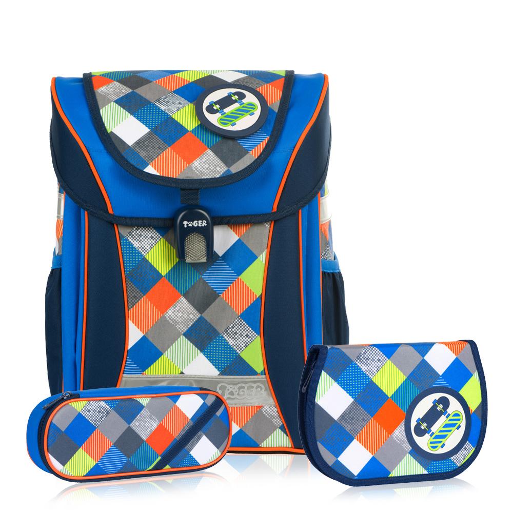 ▶2018新款 強勢登場▶TigerFamily學院風超輕量護脊書包+文具袋+鉛筆盒--紳士藍  (3~6年級)