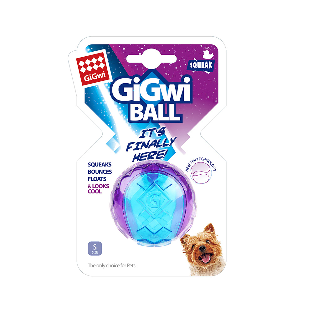 GiGwi球就是經典- 玩具小啾球單顆(紫藍透色)
