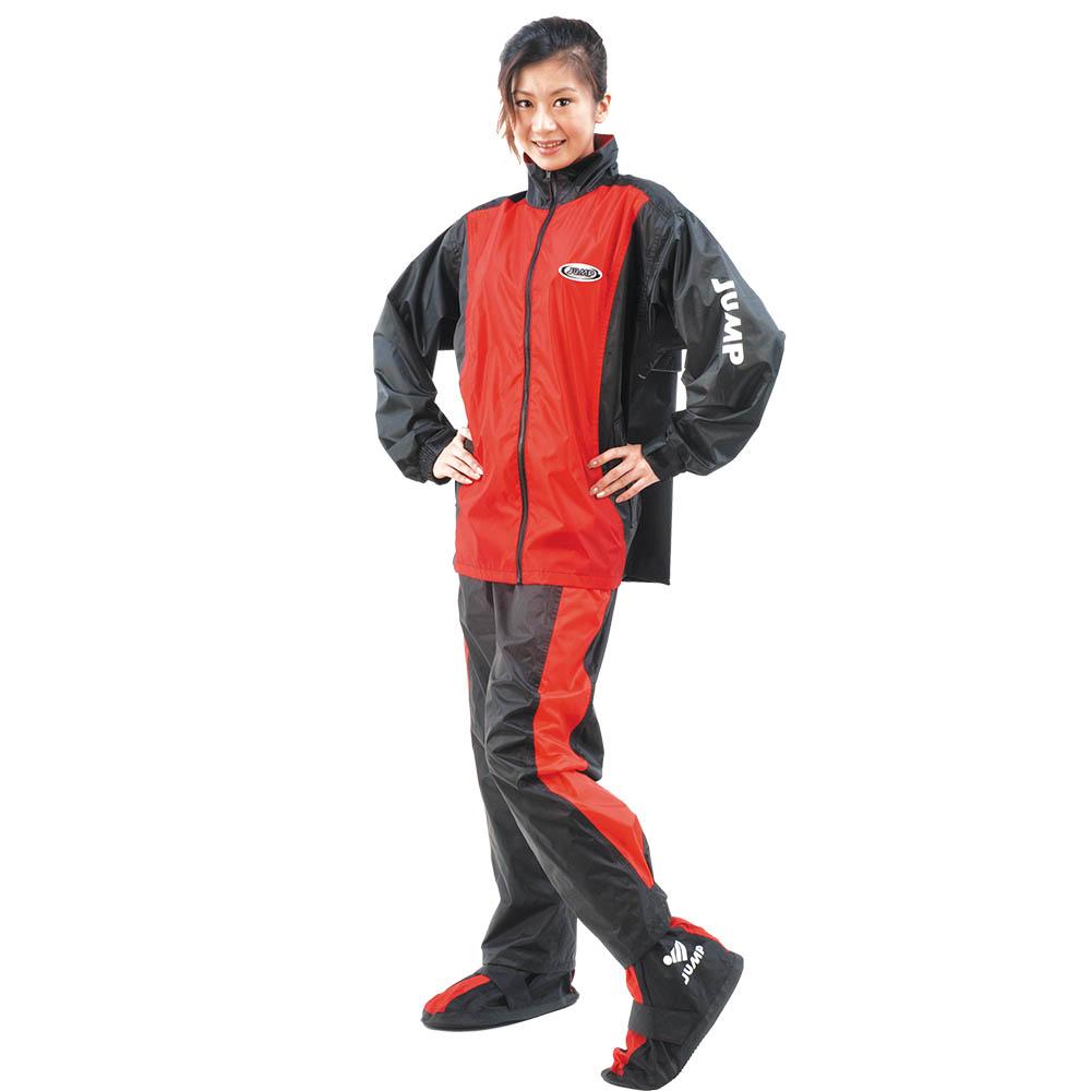 【JUMP】挺酷套裝休閒風雨衣(黑紅_M~3XL)JP2066