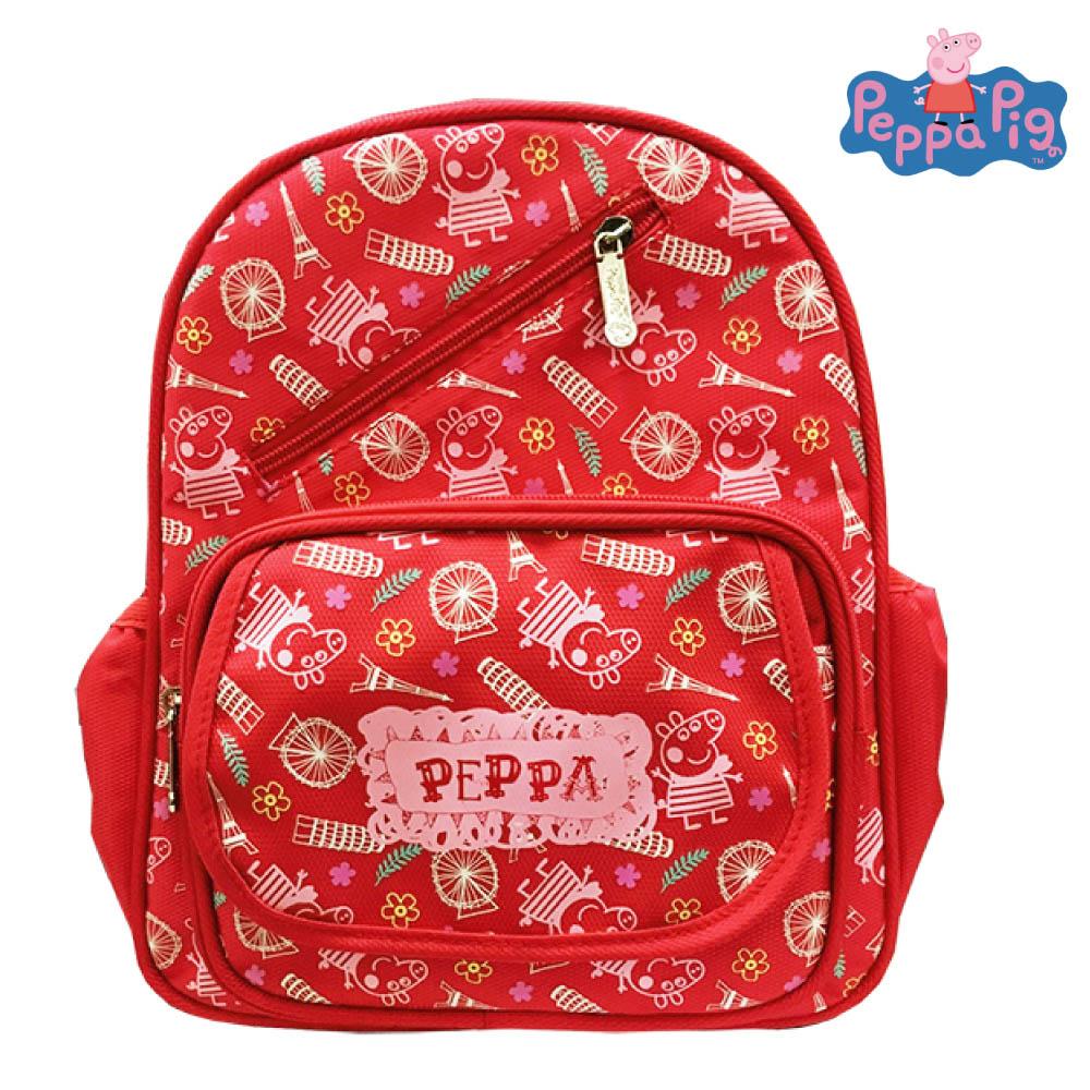 Peppa Pig 粉紅豬 圖騰兒童後背包(紅)PP582100A