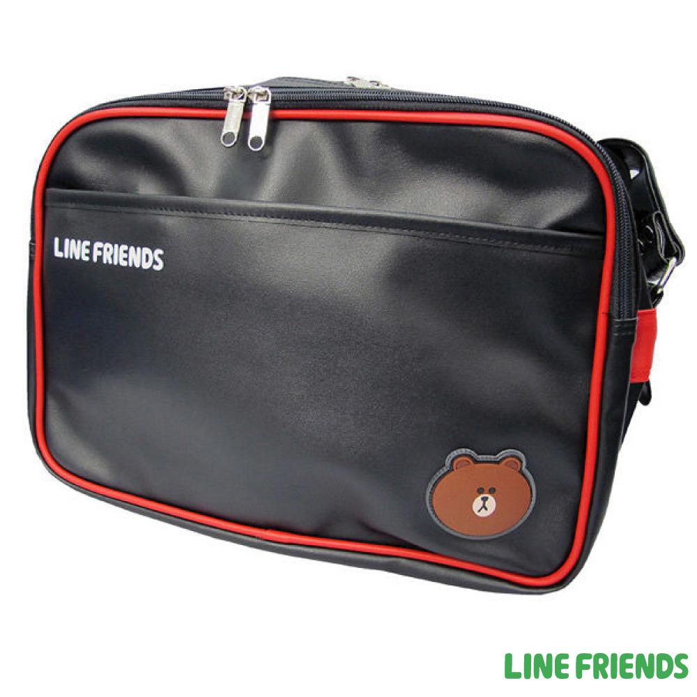 LINE FRIENDS皮質側背包_黑紅LI5217