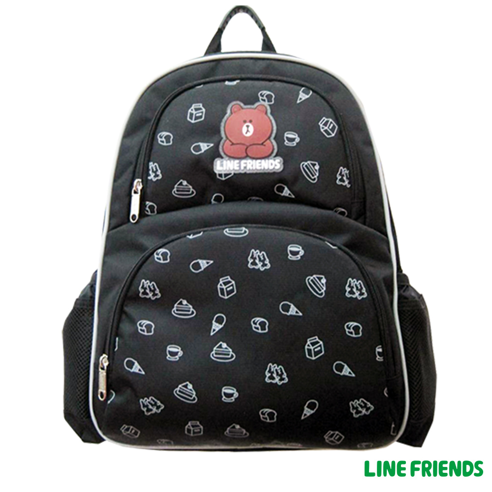 LINE FRIENDS MIT 減壓護脊書包(黑)LI559300A