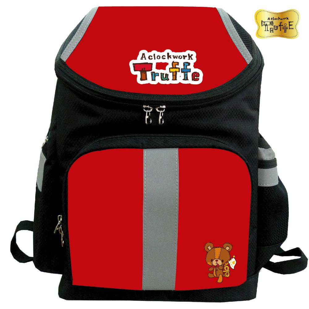 發條小熊立體護脊後背書包_黑紅BTF568500B