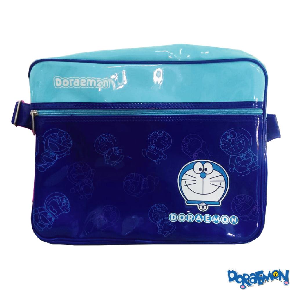哆啦A夢亮面側背包_藍DO421300A