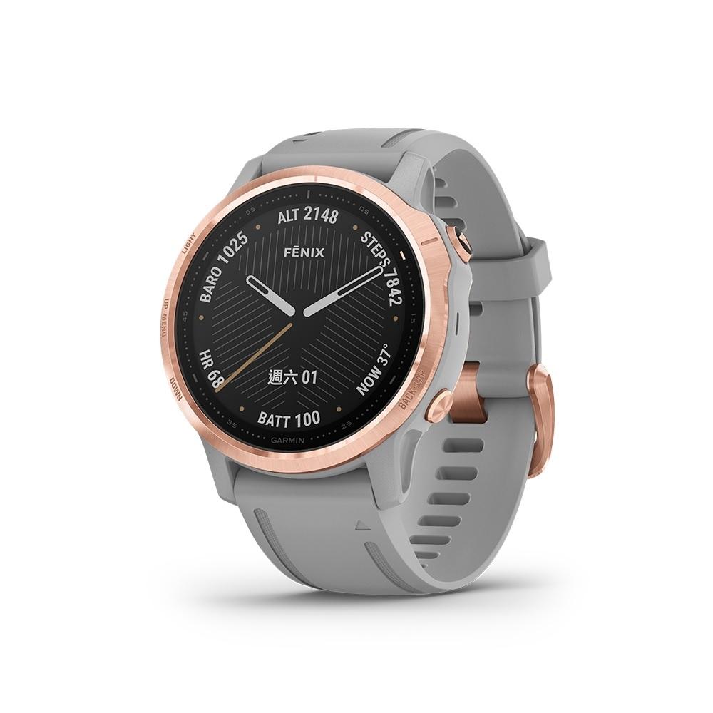 【GARMIN】fenix 6S 進階複合式運動GPS腕錶 玫瑰金錶圈/灰色錶帶