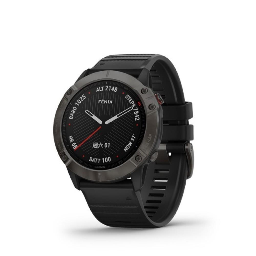 【GARMIN】fenix 6X 進階複合式運動GPS腕錶 石墨灰DLC錶圈/黑色錶帶