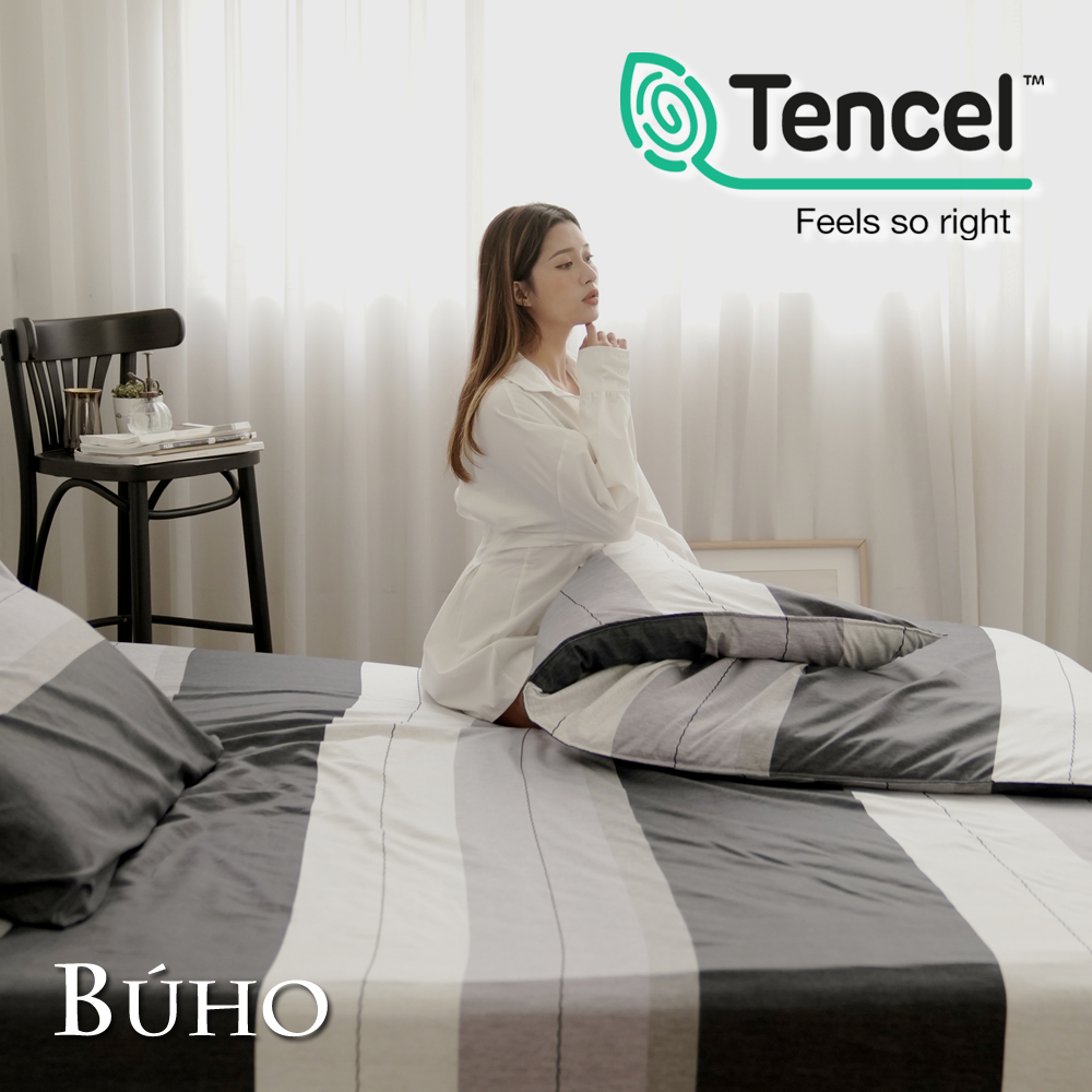 《BUHO》舒涼TENCEL天絲單人床包+雙人被套三件組(多款任選)