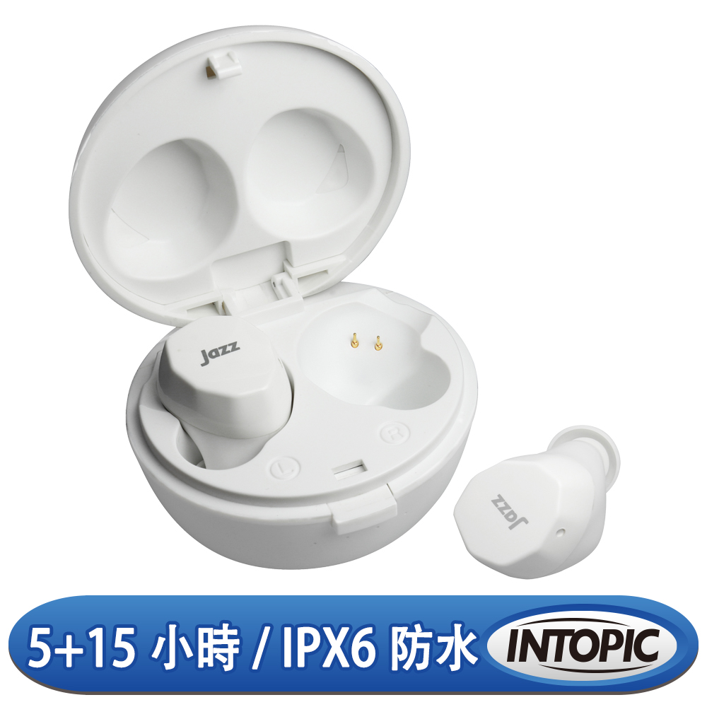INTOPIC 廣鼎 BT5.0真無線藍牙耳麥(JAZZ-TWE05/白色)