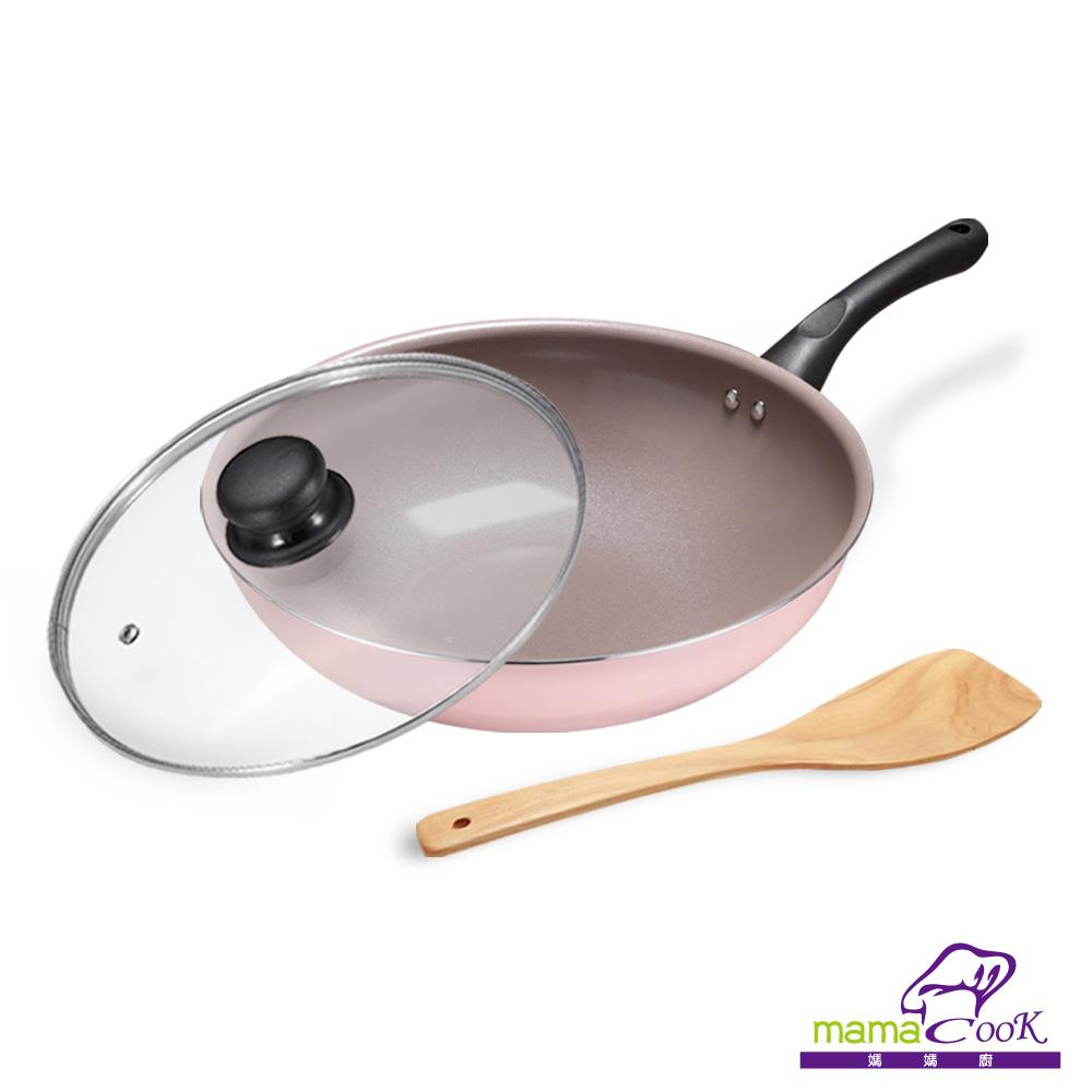 【義大利Mama Cook】綻粉陶瓷不沾鍋具3件組-炒鍋-30 cm