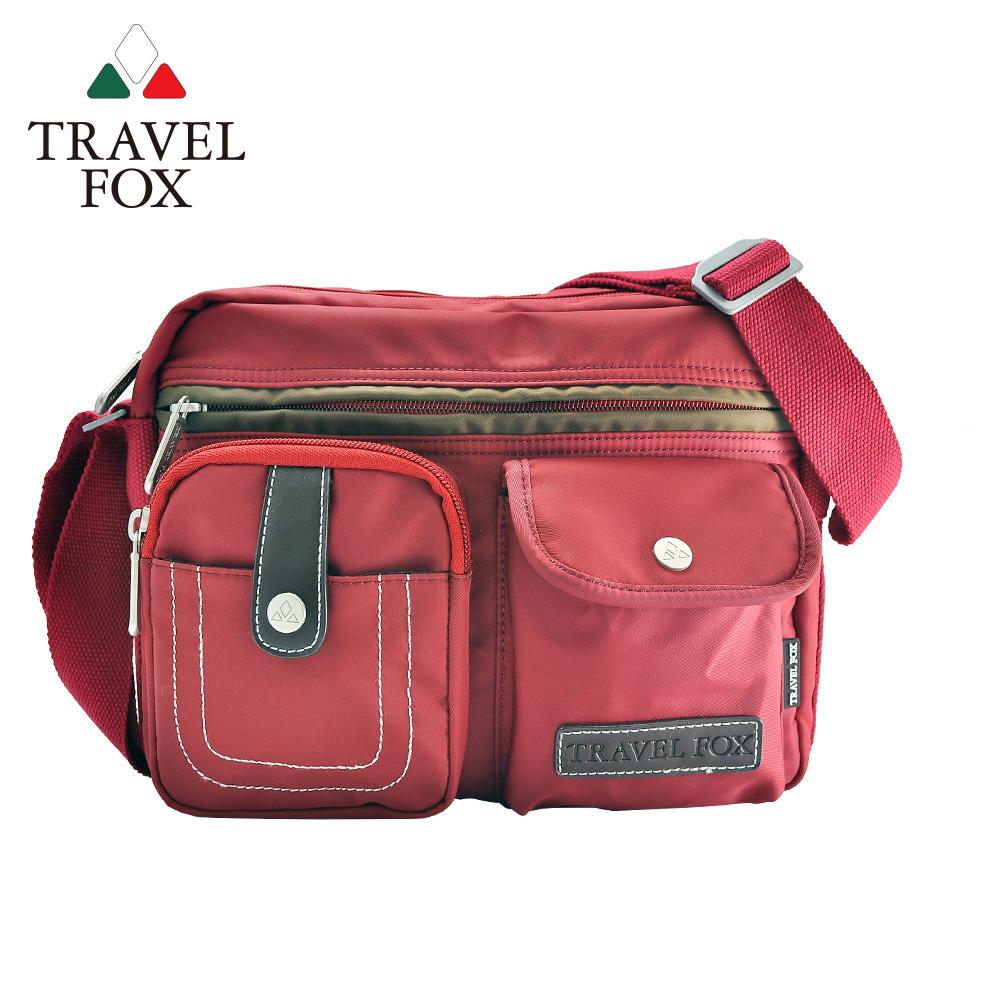 【TRAVEL FOX 旅狐】撞色雙層隨身斜背包 (TB605-04) 紅色