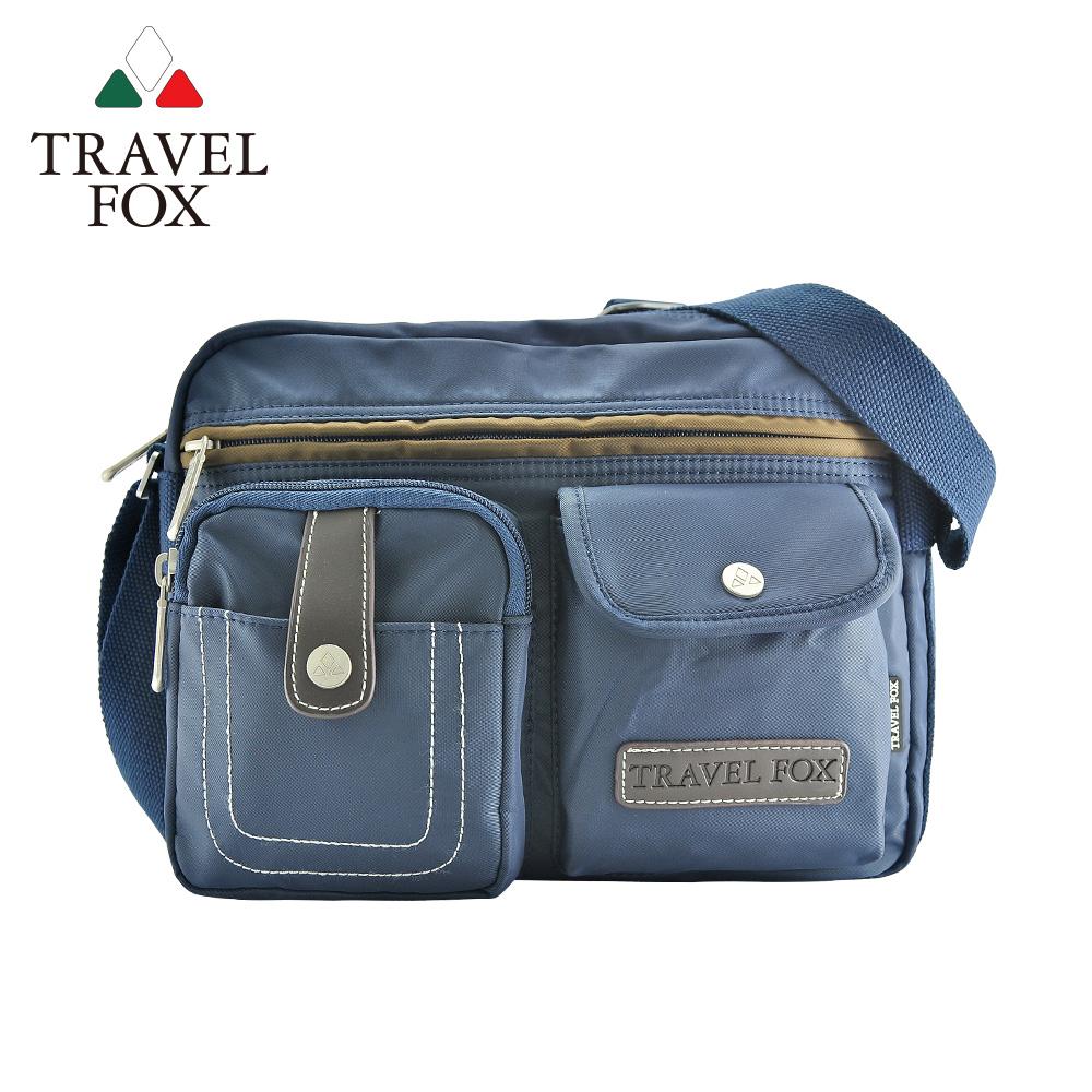 【TRAVEL FOX 旅狐】撞色雙層隨身斜背包 (TB605-47) 藍色