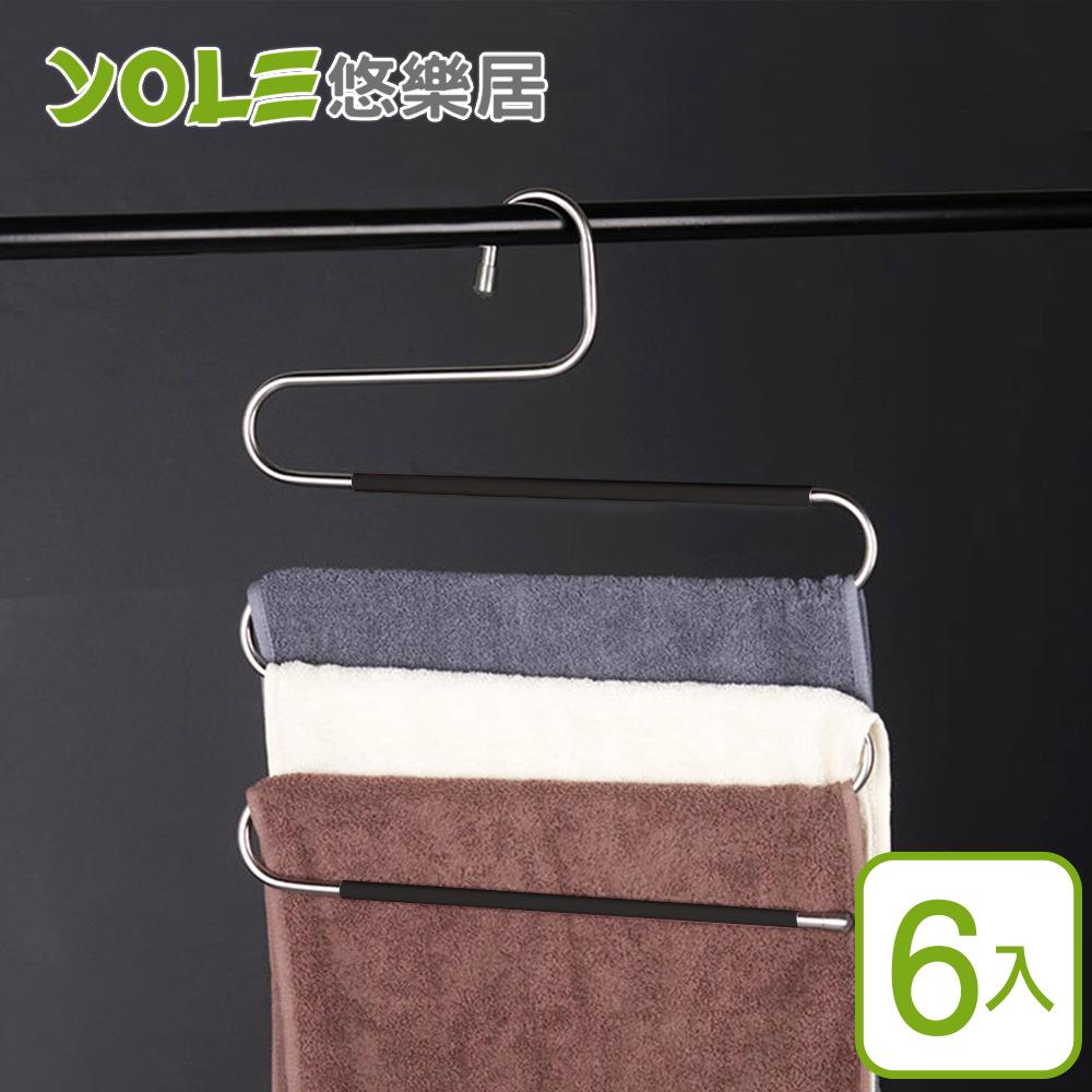 【YOLE悠樂居】201不鏽鋼加厚防滑多層領帶吊褲魔術衣架(6入)#1225014