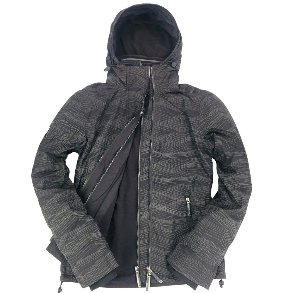 Superdry 極度乾燥 男款Windcheater經典拉鍊防風夾克-黑色反光印花