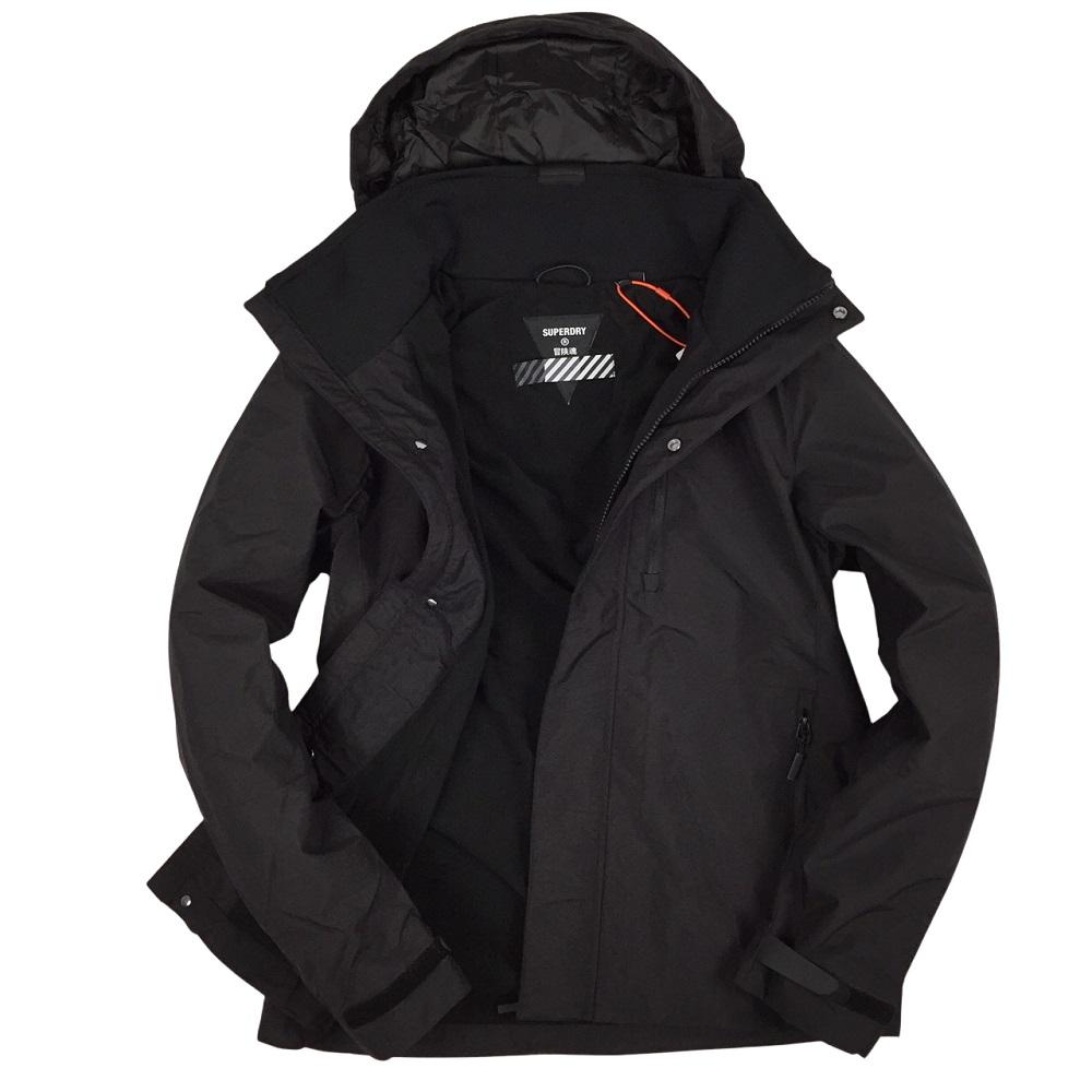 極度乾燥 冒險魂男款 防風防潑水外套 單拉鍊+暗扣 帽子可收納-黑色