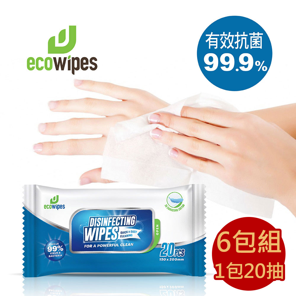 【有現貨】外銷美國的品牌 -Eco Wipes酒精擦抗菌濕紙巾隨身包 20抽/包 共6包