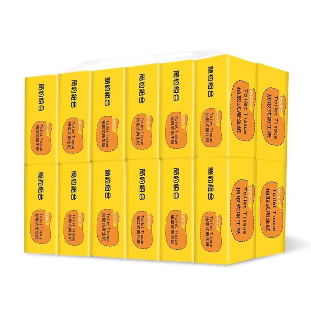 【簡約組合】優質抽取式衛生紙100抽*100包/箱-黃