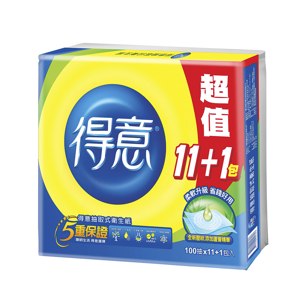 【得意】連續抽取式花紋衛生紙100抽*11+1包*7袋/箱