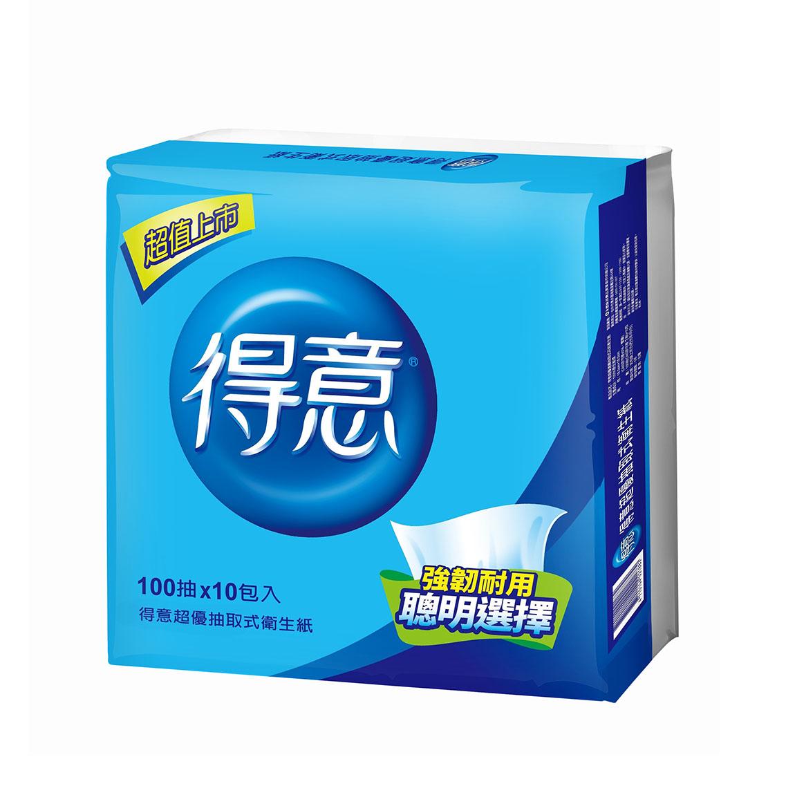 【得意】超優抽取式衛生紙100抽*10包*7袋/箱