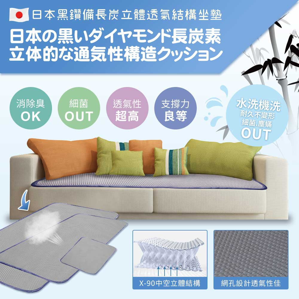 【qmodern Q之夢】日本備長炭-4D透氣沙發坐墊 椅墊/沙發墊(165*55CM-三人坐墊