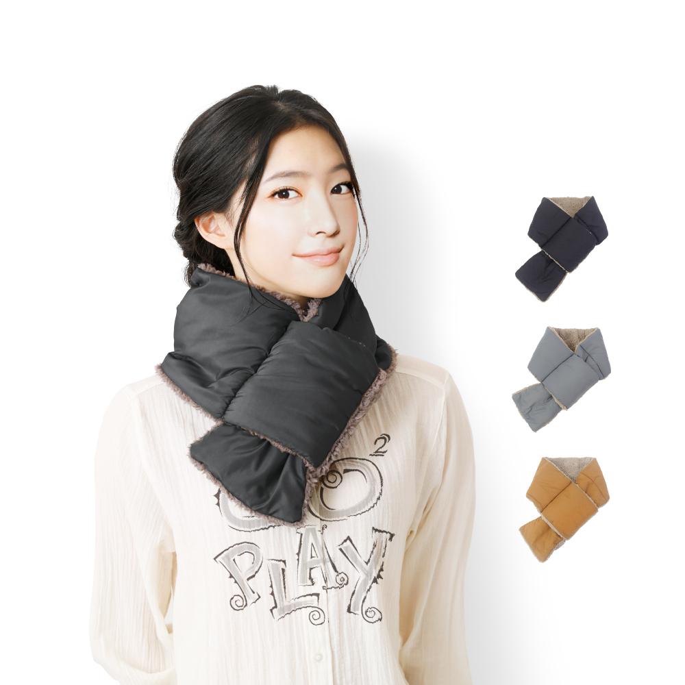 日本AUBE 輕量尼龍絨毛保暖插式圍巾