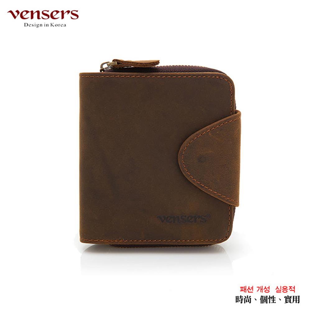 【vensers】小牛皮潮流個性皮夾(NB0027201咖啡短夾)