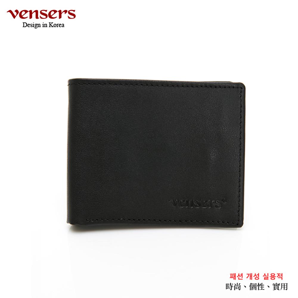 【vensers】小牛皮潮流個性皮夾(NB019902黑色短夾)