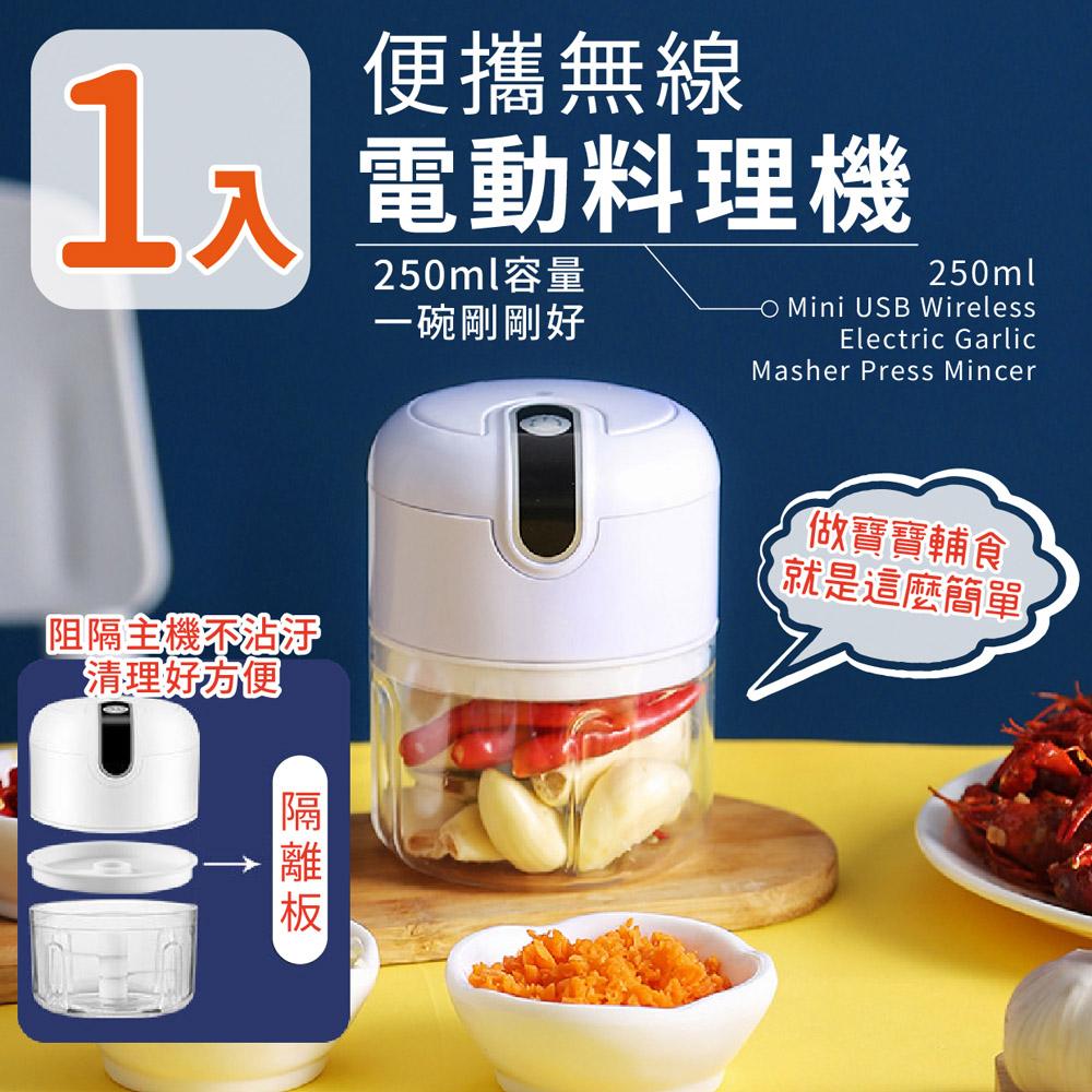 【家適帝】便攜無線電動料理機/免手拉切菜機(1入)