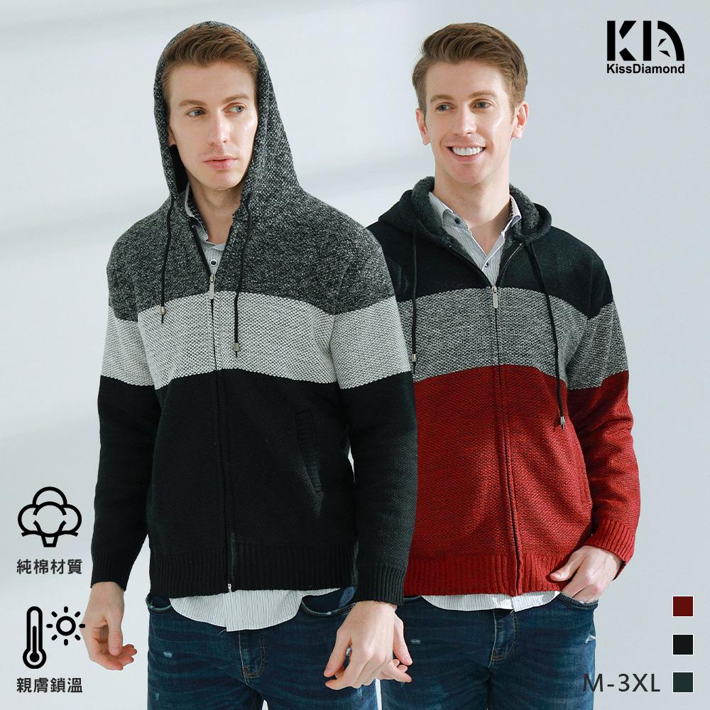 時尚加絨橫條紋針織連帽外套(三色M-3XL/KDC-6607)