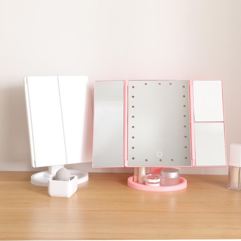 【JAR嚴選】三面摺疊USB化妝鏡