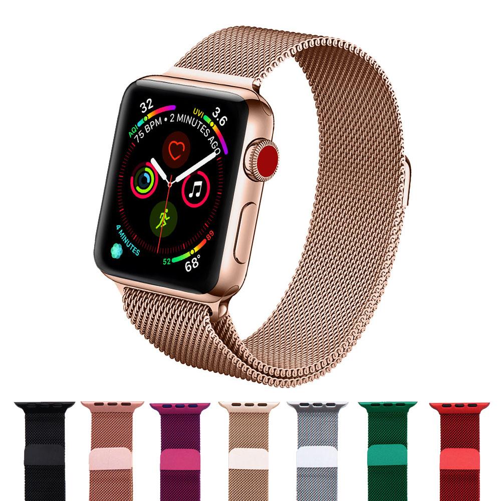 【SHOWHAN】Apple Watch 44/42mm米蘭尼斯磁吸金屬錶帶
