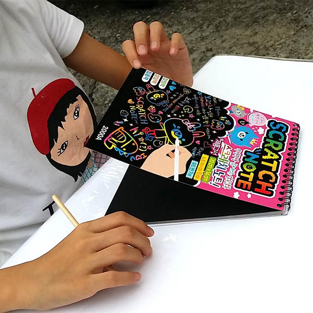 E.City_(小號5本)韓版DIY創意塗鴉刮畫本留言筆記本