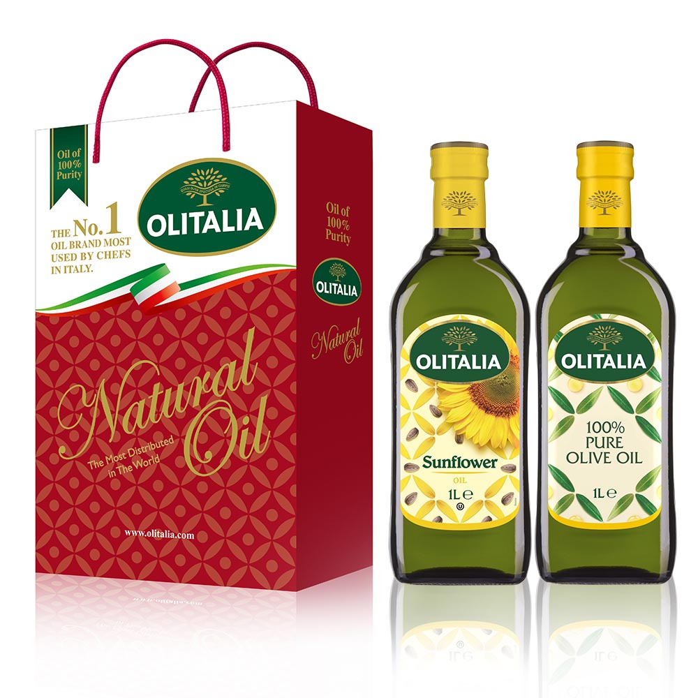 【Olitalia奧利塔】義大利綜合禮盒(純橄+葵花共2罐/組) 6組 共 12罐/組