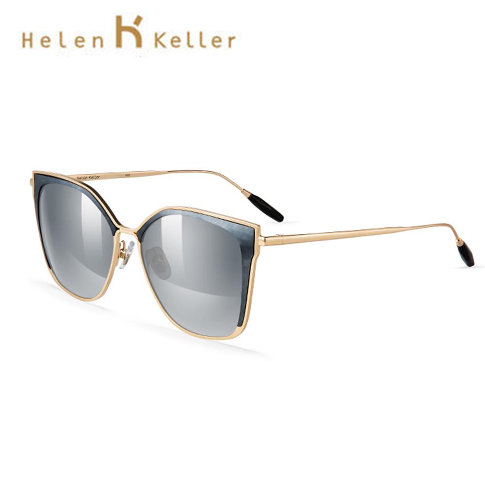 Helen Keller 鑲嵌式眉型偏光墨鏡 個性貓眼邊框 抗紫外線 H8719