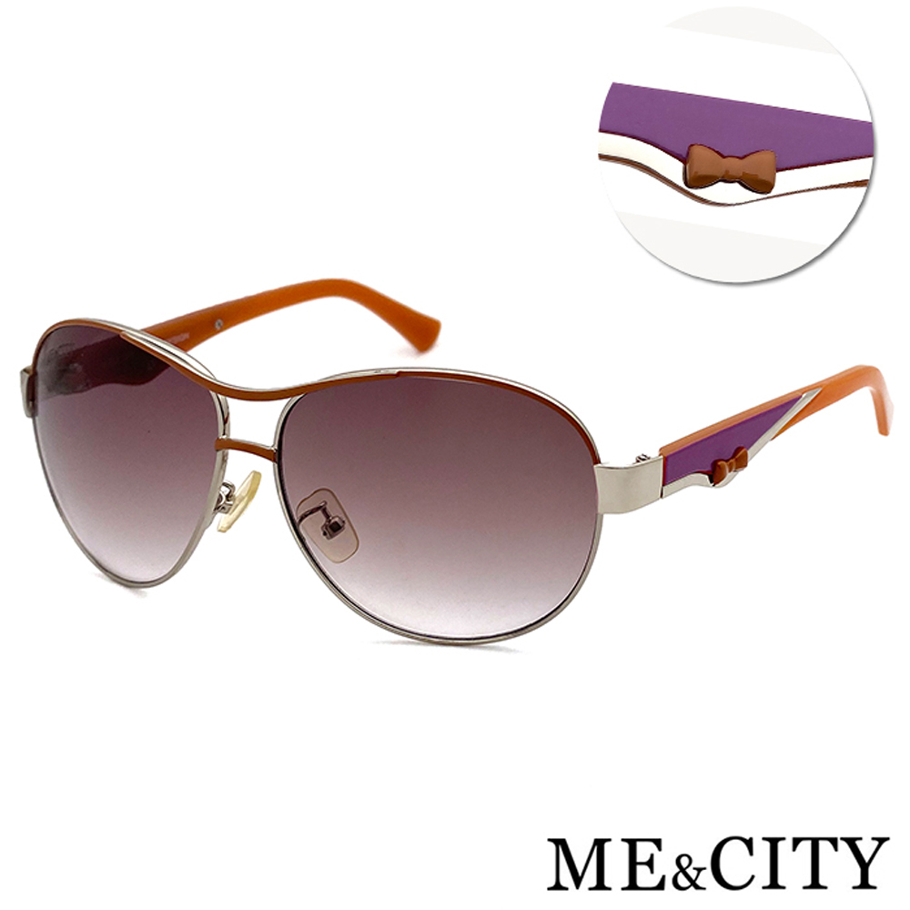ME&CITY 義式典藏高貴太陽眼鏡 斜邊雙色點綴設計 抗UV400 (ME 120033 B631)